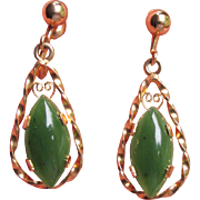 1960's Vintage Jade A & Z 12k Gold Filled Dangle Tear Drop Earrings