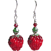"""My Secret Garden"" Lampwork Art Glass, Swarovski Crystal, Sterling Silver Dangle Artisan Earrings, ""Ripe Raspberries"" #142"
