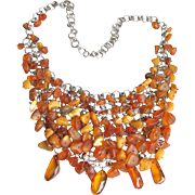 Incredible 1970's Genuine Egg Yolk & Honey Baltic Amber Nugget BIB Necklace