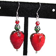 """My Secret Garden"" Lampwork Art Glass Bead, Swarovski Crystal, Sterling Silver Dangle Artisan Earrings, ""Strawberry Fields"" #143"