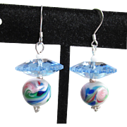 """My Secret Garden"" Artisan Lampwork Art Glass Bead & Swarovski Crystal Sterling Silver Dangle Earrings, ""Watercolor Ballerina""  #146"