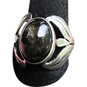 Taxco Mexico Vintage Big Oval Golden Sheen Obsidian Sterling Silver Ring, Size 6.5