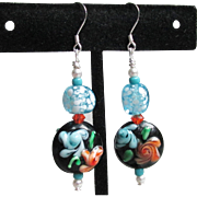 """My Secret Garden"" Lampwork Art Glass Bead, Swarovski Crystal, Sterling Silver Dangle Artisan Earrings, ""Midnight Orange Blossoms"" #148"