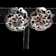 1940's Retro Sterling Silver Open Work Button Vintage Earrings