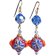 """My Secret Garden"" Lampwork Art Glass Bead & Swarovski Crystal Gold Plated Artisan Earrings, ""Garnet Hyacinths"" #147"