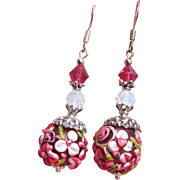"""My Secret Garden"" Lampwork Art Glass, Swarovski Crystal, Sterling Silver Dangle Artisan Earrings, ""Raspberry Blossom"" #145"