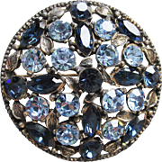 Retro Czech or Austrian Light & Dark Sapphire Blue Rhinestone Floral Antiqued Foliate Brass Pin or Pendant