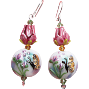 """My Secret Garden"" Artisan Lampwork Glass Bead & Swarovski Crystal Sterling Silver Dangle Earrings, ""Bugs 'n Roses"" #149"