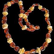 Baltic Egg Yolk & Honey Amber Nugget Vintage Necklace