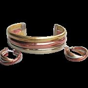 1970's Vintage Modernist Sterling Silver, Brass, Copper Cuff Bracelet & Pierced Hoop Earrings Set