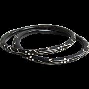 Pair Carved Ebony Wood Black & White Painted Vintage Bangle Bracelets