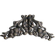 Antique Art Nouveau Brass Sash Belt Buckle, Vintage Flowing Leaves & Raspberries