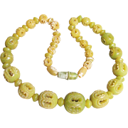 1930's Vintage Carved Through Genuine Bakelite Lime Green & Yellow Bead Necklace