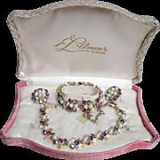 Mint In Fitted BOX! 1950's Vintage L'Amour Purple AB Rhinestone & Faux Pearl FLOWER Necklace, Bracelet, Earrings Set Parure