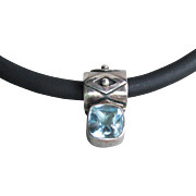 Designer Deborah Armstrong Co. Signed Vintage Sterling Silver & Blue Topaz Slide Modernist Pendant Necklace