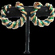 """MIB Vintage 1980's Avon Flat Green Enamel Hoop """"Spiral Color"""" Pierced Earrings, Mint In Box!"""