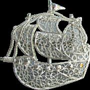 Fine 800 Silver Vintage Spanish Filigree Armada Sailing Ship Pin