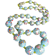 RARE Gorgeous Vintage Baby Blue Murano Venetian Art Glass Wedding Cake Bead Necklace