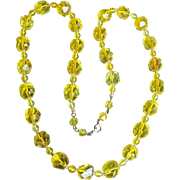 Unusual Electric YELLOW Square Cut Czech Crystal Bead Vintage Flapper Necklace