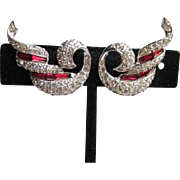 Exquisite Signed Vintage Ruby Rhinestone Modernist SWAN Bow Earrings