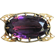 Early 1900's Antique Art Nouveau Gold Filled Amethyst Paste Glass Brooch, Vintage Pin