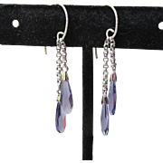 """My Secret Garden"" Artisan Swarovski Crystal Sterling Silver Dangle Earrings, ""Purple Rain"" #151"
