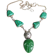 Sterling Silver & Malachite Mask FACE Vintage Pendant Necklace