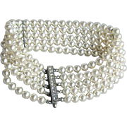 High-Quality Vintage 1950's 5 Row Glass Wedding White Pearl Bracelet, Rhinestone Slide Clasp
