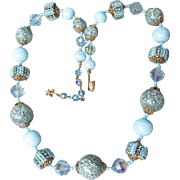 Signed VENDOME Baby Blue Austrian Crystal & Venetian Art Glass Vintage Bead Necklace