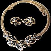 Signed TRIFARI Vintage Black Enamel Gold Tone Omega Necklace & Earrings Set