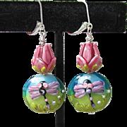 """My Secret Garden"" Artisan Lampwork Glass Bead & Swarovski Crystal Sterling Silver Dangle Earrings, ""Bugs 'n Roses II""  #154"