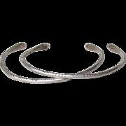 Vintage Pair Sterling Silver Upper Arm Indie Etched Cuff Bracelets