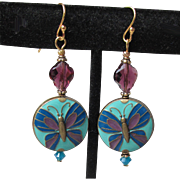 """My Secret Garden"" Swarovski Crystal & Enamel Disk Bead Gold Plated Sterling Silver Artisan Earrings, ""Baroque Butterfly"" #153"