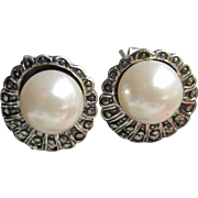 Vintage Faux Pearl & Marcasite Sterling Silver Stud Pierced Earrings