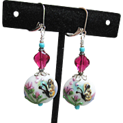 """My Secret Garden"" Artisan Lampwork Glass Bead & Swarovski Crystal Sterling Silver Dangle Earrings, ""Ruby On Butterfly"" #156"