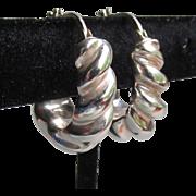 1980's Vintage PUFFY Spiral Hoop Sterling Silver Pierced Earrings