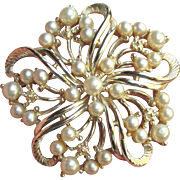 Pretty Vintage Signed STAR Faux Pearl Flower Pin