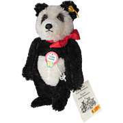 "Vintage STEIFF Bear ""Teddy Panda"" Historic 1928 Miniature Replica Series IV c. 1992, all Id's & Tag"