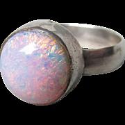 Sterling Silver Faux OPAL Harlequin Foil Glass Cabochon Vintage Ring, Size 9