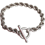 """Heavy 36 Grams Vintage Mexico Sterling Silver Rope Chain Toggle Bracelet, Unisex XL 8 1/2"""" Long"""