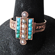 Antique Victorian 14k Gold Persian Turquoise & Grey Pearl Ring
