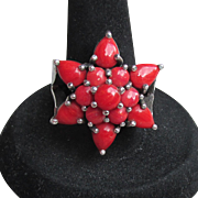 BIG Beautiful Sterling Silver & RED Coral Star Flower Ring, Size 7.5