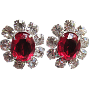 Brilliant Sparkle 1950's Vintage Sterling Silver Crystal & Ruby Rhinestone Earrings