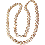 "Signed Napier Vintage Pearl in Heavy Gold Tone Textured Chain 30"" Long Necklace"