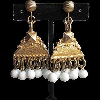 RARE 1970's Signed Kenneth Jay Lane BIG Dangle Egyptian Revival Pyramid Chandelier Earrings