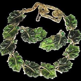 Signed LISNER Big Green LEAF Thermoset Lucite Necklace & Earrings Set, Vintage Demi Parure