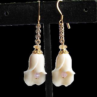 """My Secret Garden"" Artisan Lampwork Glass Bead & Swarovski Crystal Gold Plated Sterling Silver Dangle Earrings, ""Buds 'n White Roses"" #155"