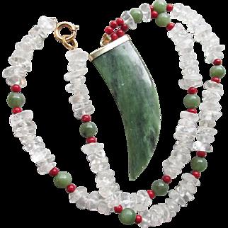 Vintage Serpentine Tooth Shaped BIG Pendant, Garnet and Rock Crystal Quartz Nugget Beaded Long Necklace