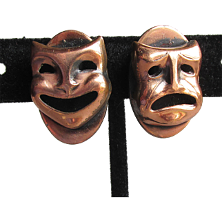 Vintage Signed KIM Mid-Century Modern Copper Comedy & Tragedy Theater Mask Earrings