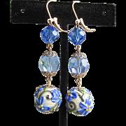 """""""My Secret Garden"""" Handmade Lampwork Flower Art Glass Bead & Swarovski Crystal Artisan Dangle Leverback Earrings, """"Blue Poppy"""" #160"""